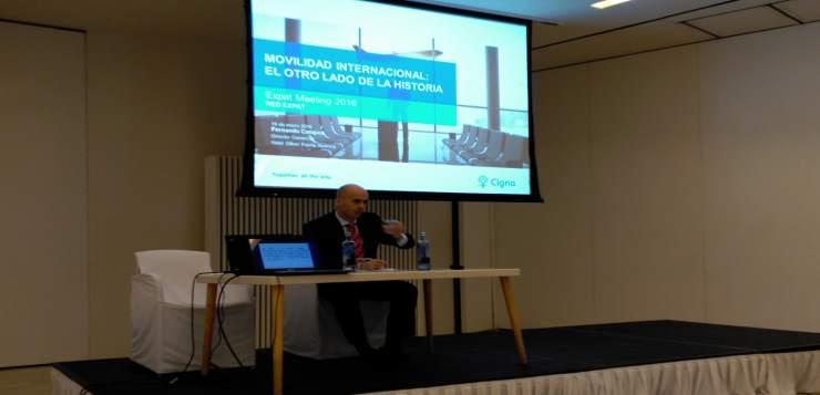 Fernando Campos presentando esta mañana el Informe Tendencias Globales de Movilidad Internacional durante el V Expat Meeting.