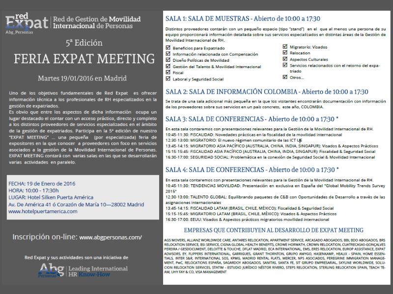 Programa de la V Feria Expat Meeting que tendrá lugar mañana en el Hotel