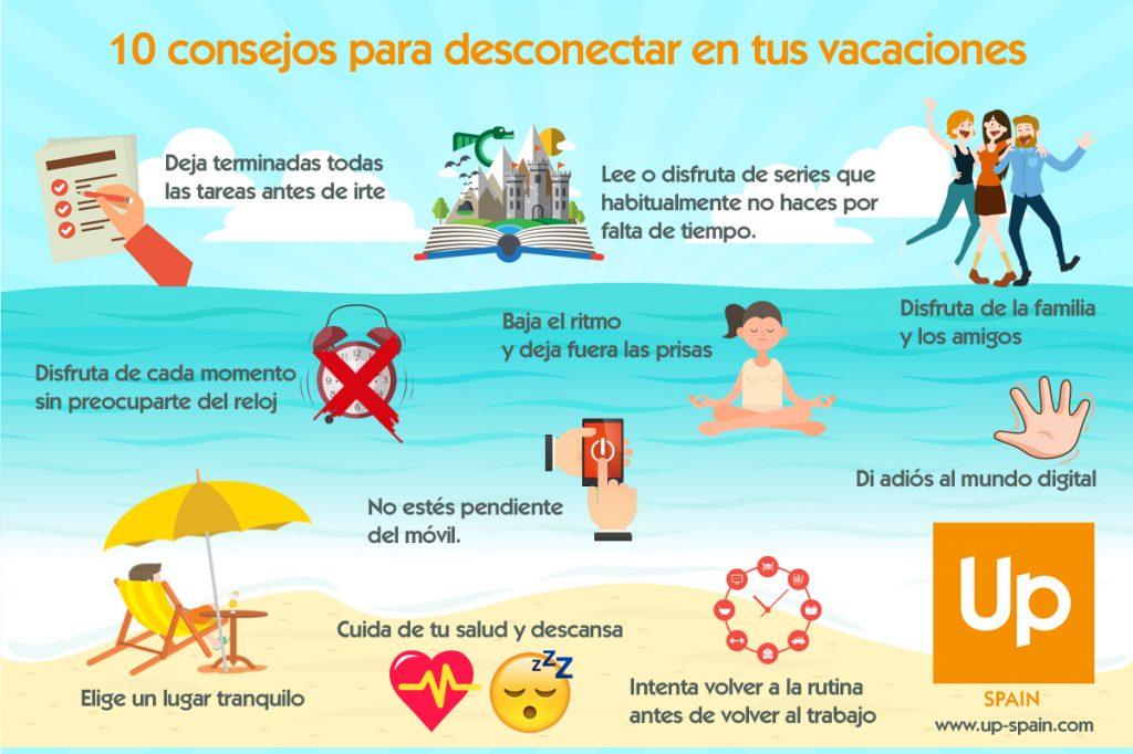 infografía descansar en vacaciones