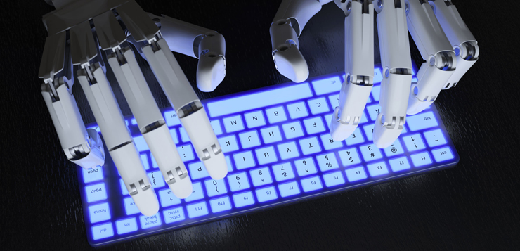 45260703 - robot typing on conceptual keyboard