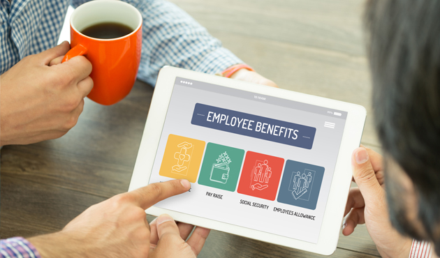 EMPLOYEE BENEFITS CONCEPT ON TABLET SCREEN