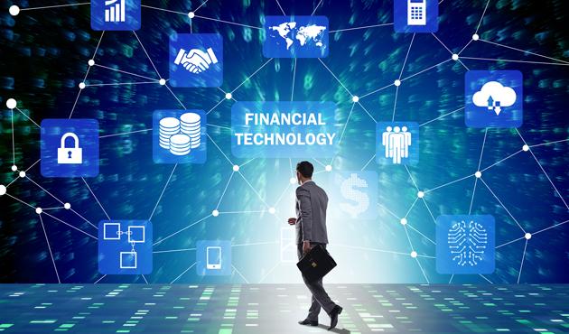 Businesswoman walking towards financial technology fintech