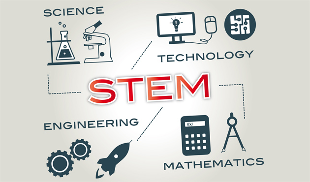 STEM education word and icons