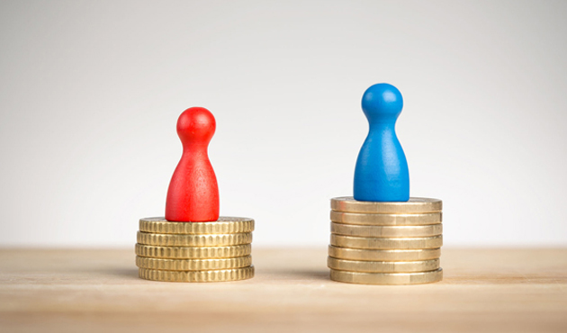 33186296 - wage gap concept with blue figure symbolizing men and red pawn women