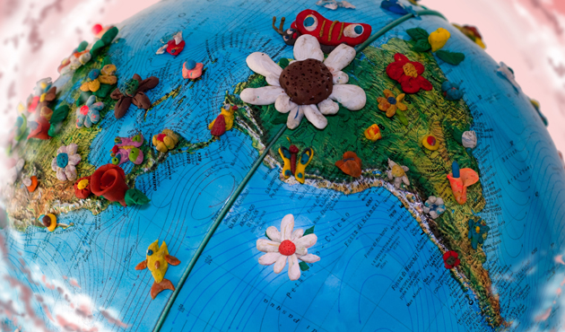 8556149 - south america globe  with  flowers made in plasticine