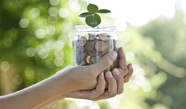 concept of saving, economy and finance