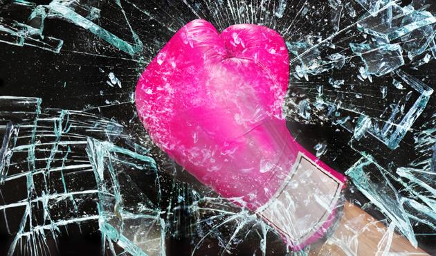 Pink Girl Power Breaking Glass..
