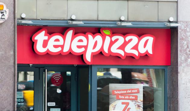 Barcelona, Spain - June 10, 2018: Telepizza logo and sign of piz